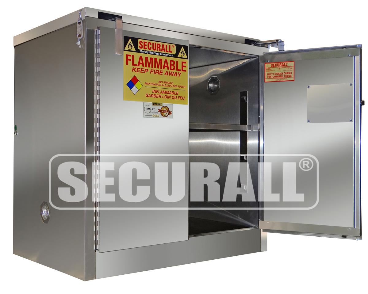Securall Stainless Steel Storage Cabinets For Flammables